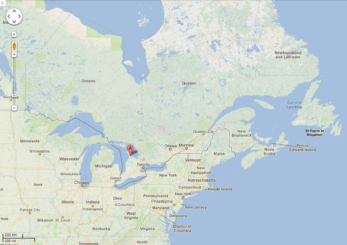 This Is A Broad View Of Eastern Canada And The Northeast United States With Colpoy S Bay Village Denoted With The Red Label A